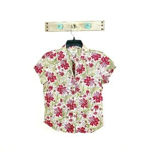 Talbots 4 Pink Floral S/S Button Down Shirt